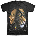 "Zion Rootswear Bob Marley ""Profiles"" Short Sleeve Tee (Black) Men's Lion T-Shirt"
