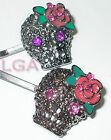 1 x Skull Jewelled Gems Rockabilly Rose Flower Hairpin PURPLE cz eyes*