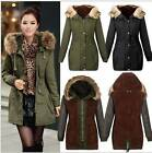 US Womens Thicken Warm Winter Coat Fur Hooded Parka Overcoat Long Jacket