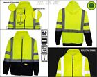 Full Zip high visible safety Hoodie Sweatshirt class 3 - Yellow/Lime