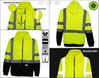Full Zip High Visible Safety Hoodie Hoody Sweatshirt ANSI class 3 - Yellow/Lime