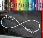 """Infinity Love Forever Personalized Couple ur Names 8.25"""" VINYL STICKER car DECAL"""