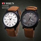 New CURREN Mens Military GMT Chrono Stainless Steel Quartz Watch Leather Strap