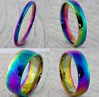 Rainbow Plated Men Women Wedding Ring 2mm 4mm 6mm 8mm Pride Band (size H To Z+5)