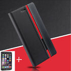 2017 Flip Cover Stand Wallet PU Leather Case & Tempered Glass For LG Phones
