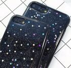 For iPhone 6/6S+/7/7+/8+/X - HARD TPU RUBBER GUMMY CASE COVER BLACK GLITTER STAR