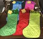 NWT IQ Accessories Quilted Christmas Stocking Blue, Pink, Green or Red