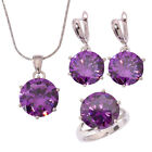 Amethyst Silver New for Women Necklace Pendant Earrings Ring Jewelry Set NT174