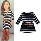 Kid Girl baby Stripe long sleeve dress Casual Fashion T-shirt dress with belt