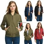 Women Solid Shoulder red ribbon Biker Slim Jacket Zip Up Bomber New Jacket N98B