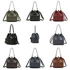 New P413 Womens Leather Handbag Drawstring Bucket Bag Hobo Tote Shoulder Bag