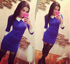 Women 3/4 Long Sleeve Mini Bodycon Stretch Mini Dress Party Cocktai White Collar