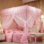 Pink Ruffled Four 4 Post Bed Canopy Netting Curtains Sheer Panel Twin Full Queen image