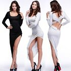 Women Bandage Hollow Clubwear High Low Irregular Bodycon Swallow Tail Dress N98B