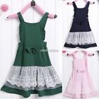Kids Girls Princess Sleeveless Lace Dress Bowknot Skirt Party Dress 2-9Y N98B