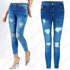 NEW LADIES RIPPED SLASH FRONT SKINNY BLUE JEANS DISTRESSED WOMENS HIGH WAIST