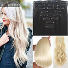 Full Head Real Thick Clip In Remy Hair Extensions Curly Straight 8 Pieces sn07