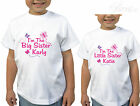 GIRLS PERSONALISED BIG SISTER LITTLE SISTER BUTTERFLY DESIGN T-SHIRT SET GIFTS