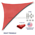 Custom Size Red Righ Triangle Sun Shade Sail Outdoor Canopy Awning w/6 in Kit