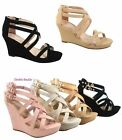 Women's Zipper  Strappy Ankly Strap  Buckles Wedge Sandal Shoes Size 5 - 10 NEW