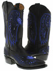Women's Black Leather Cowboy Boots Blue Sequins Heart Wings Pointed J Toe