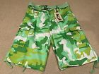 NWT Men's Member's Property Lime Green Camouflage Camo Belted Cargo Shorts 34-44