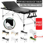 Portable Massage Table Aluminium Wooden 3 Fold Beauty Waxing Therapy Bed 60-80cm