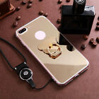 Lovely Shockproof Fashion Mirror Crystal flower Phone Case Cover With Lanyard