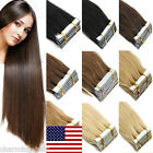 US STOCK 16''-20''Seamless Tape In Skin Weft Remy Human Hair Extensions Straight