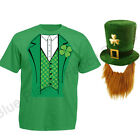 MENS ADULTS LEPRECHAUN IRISH ST PATRICKS DAY T SHIRT & HAT FANCY DRESS COSTUME