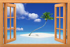 Wall sticker, 3D window, Removable, Reusable,wood or vinyl frame Ocean style 007