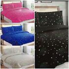 Stars Duvet Cover & Pillowcase Bedding Bed Set - 4 Colours Single, Double, King
