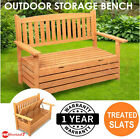 Wooden Outdoor Garden Storage Bench Chair Box 2 Seat Chest Furniture Timber New
