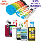 Micro USB Android Samsung Motorola HTC LG Sony Flat Charger Cable Lot, 3 ft