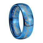 Blue Lord of Ring, LOTR Ring, ONE Ring, Tungsten Ring UK Size H-Z4