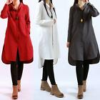 Women Long Sleeve Fashion Baggy Split Hem Shirt Tunic Dress Linen Tops Slim 2017