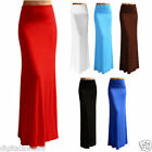 Women Solid Color Retro Stretch Fitted Long Maxi Dress Elastic Waist Skirt