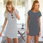 Women Casual Dress Crew Neck Short Sleeve Striped Loose T-Shirt Mini Dress SEAU