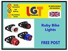 Ruby Bike Cycle Tail Rear Front Red White LED Lamp Flash Light Safety Warning!