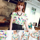 Women Feather Chiffon Blouse Casual Tops Short Sleeve Loose Summer T Shirt New