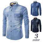 Mens Long Sleeve Jeans Shirts Classic Leisure Spring Denim Shirts Large US Size