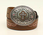 BROWN LEATHER ~PINK CROSS Buckle & Conchos~ Girl's WESTERN BELT Cowkid A13022 17