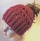 CROCHET MESSY BUN HAT pony tail adult womens teen beanie bulky warm many colors