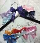 Wedding Dress Hanger Bride Name choice of 12 bow colors Dark Hanger gift Bridal