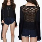 Womens Black Crew Neck Lace Patchwork Chiffon Shirt Backless See Through Blouse