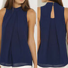 Women Round Neck Sleeveless Chiffon Blouse Casual Tank Tops Halter Neck T-Shirt