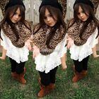 Baby Lace Girls Batwing Sleeve Blouse O-Neck Pullover Asymmetric Shirt Hem Tops