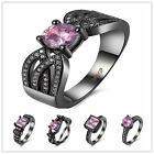 Gold Filled Rings Fashion Size 6-9 Rings Zircon Gold-plated Pink Jewelry Black