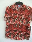 NEW KORET MISSES PETITE BUTTONFRONT SHORT SLEEVE ORANGE PRINT BLOUSE $52