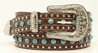Silver & Turquoise Studs ~NOCONA Brown Leather Western BELT~ COWGIRL N35222 17